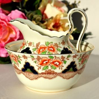 Plant Tuscan Imari Style Sugar Bowl and Creamer c.1936+