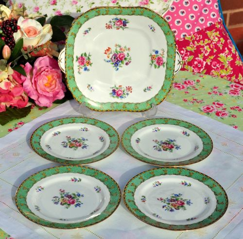 Aynsley Floral Green Border 5 Piece Cake Serving Set c.1920s