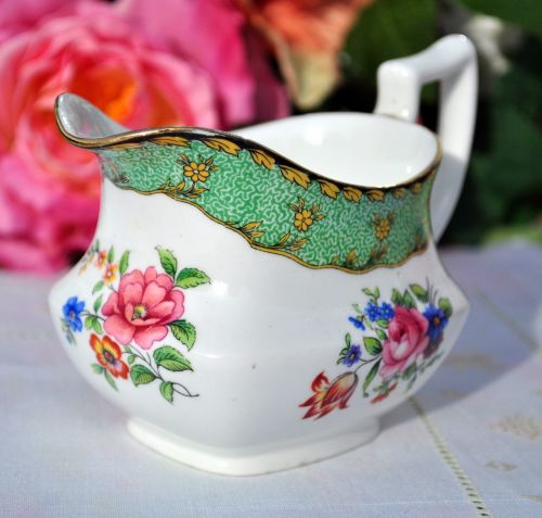 Aynsley Floral Green Border Milk Jug or Creamer c.1920s