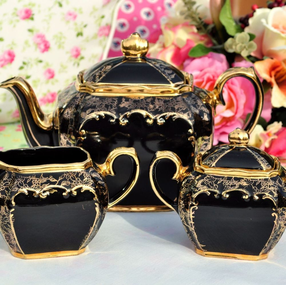 Sadler Black and Gold Filigree Teapot, Sugar Box and Creamer Set c.1947+