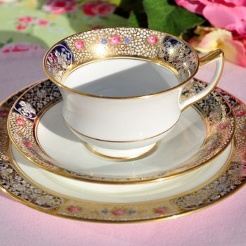 Aynsley Roses and Gold Lace Fine China Teacup Trio c.1930s