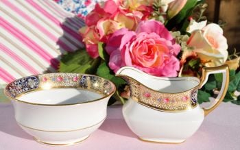 Aynsley Roses and Gold Lace Creamer and Sugar Bowl c.1930s