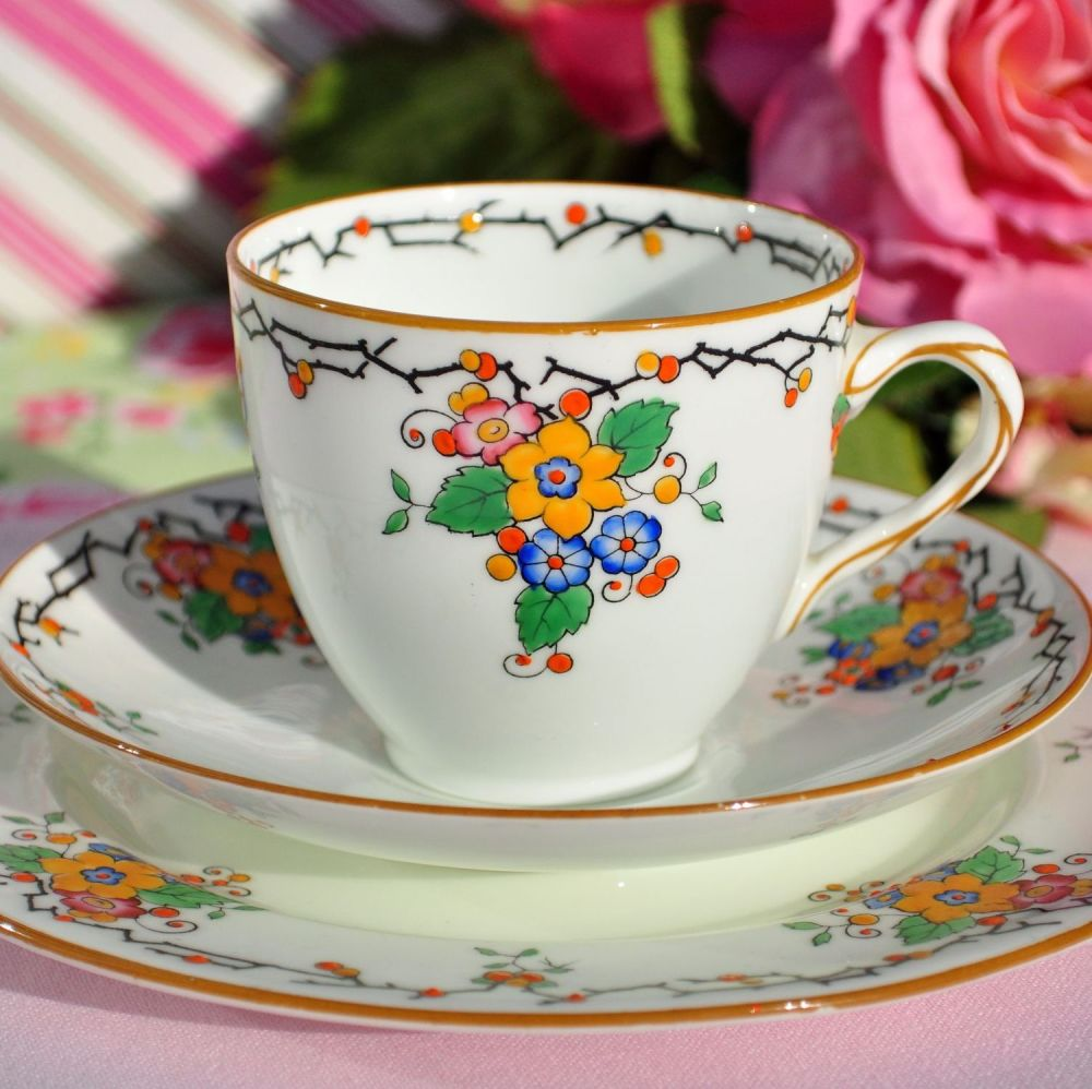 Royal Doulton Flora Art Deco Period China Teacup Trio c.1927
