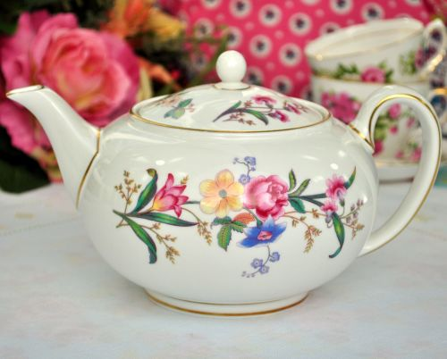 Wedgwood Devon Sprays Vintage China Teapot c.1950s