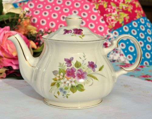 Sadler Purple Pansies Vintage Creamware Teapot c.1930s