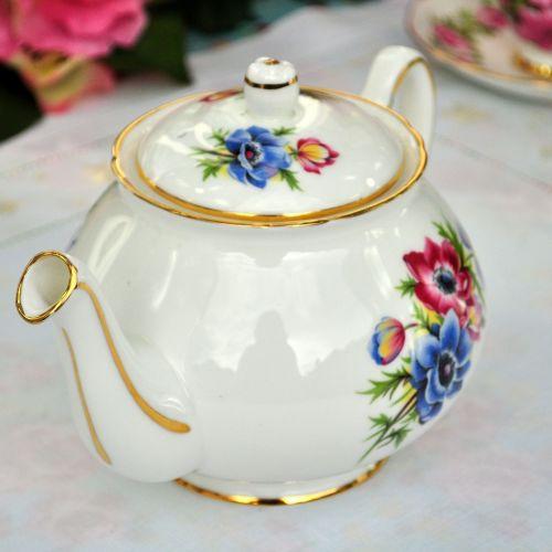 Duchess Anemones Vintage Bone China Teapot