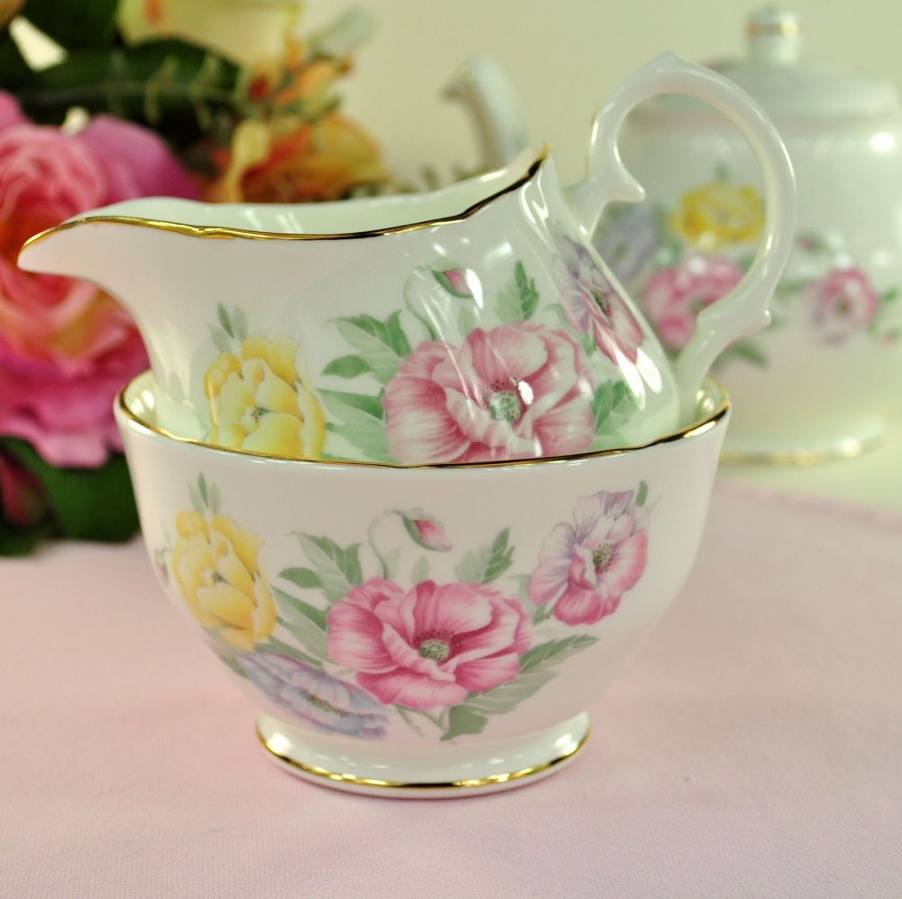 Duchess Godetia Vintage Bone China Milk Jug and Sugar Bowl