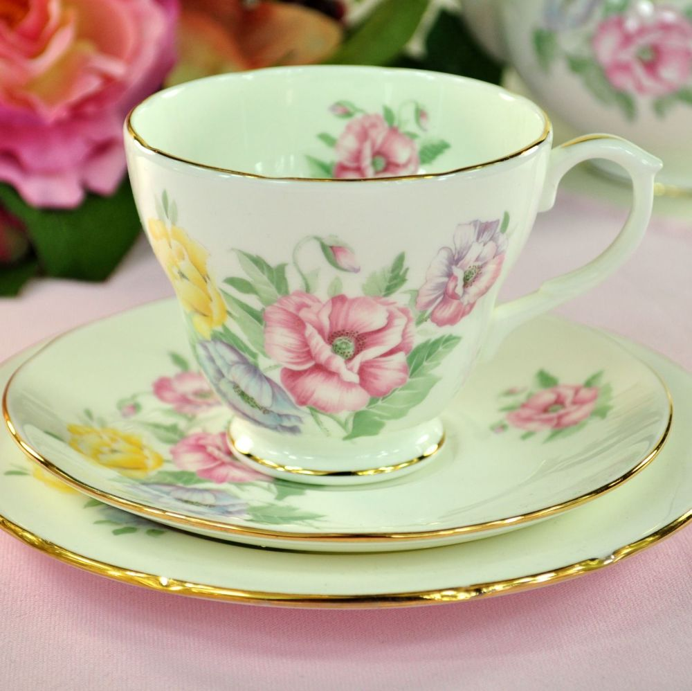 Duchess Godetia Vintage Bone China Teacup Trio