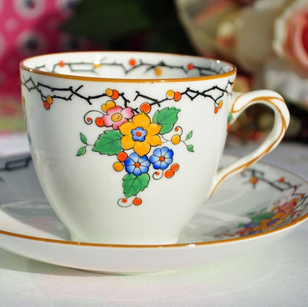 Royal Doulton Flora Art Deco China Teacup and Saucer  c.1927