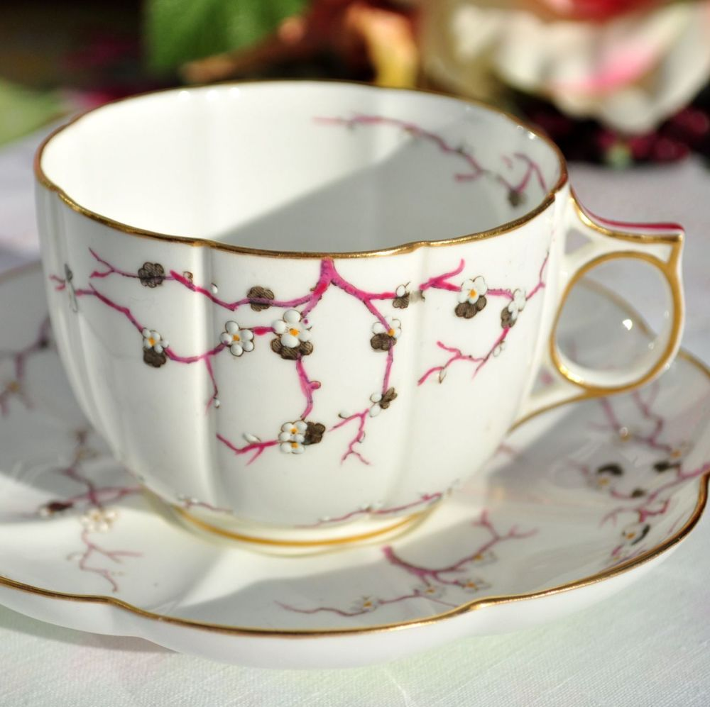 Antique Crescent China Cherry Blossom Fine China Teacup and Saucer c.1874-9