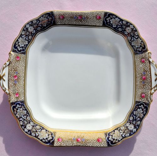 Aynsley Roses and Gold Lace Cake Plate c.1930s