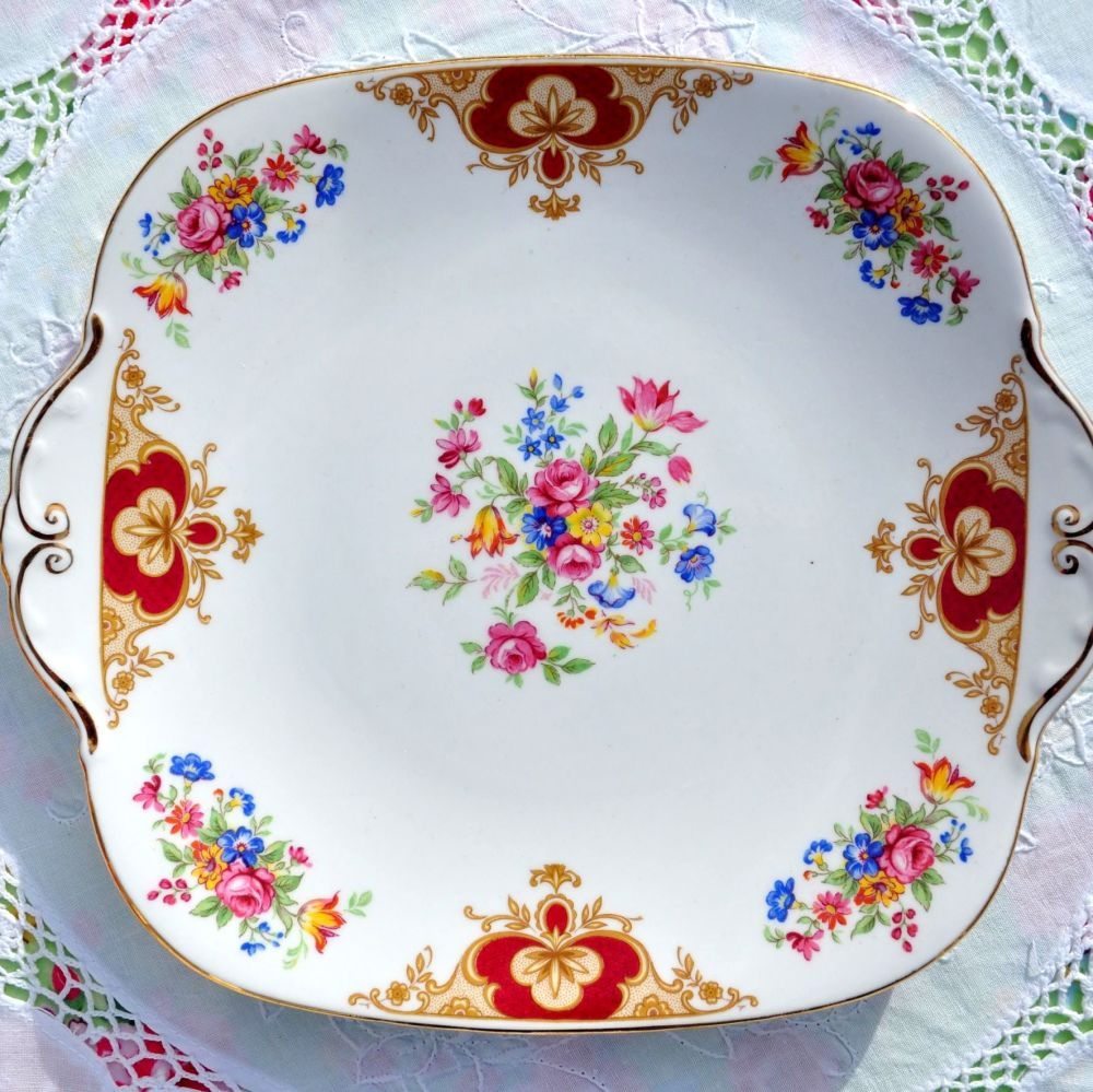 Windsor China Colourful Floral Vintage Cake Plate c.1960's