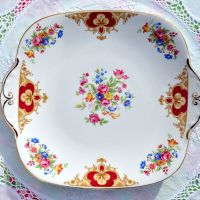 Windsor China Colourful Floral Cake Plate c.1960's