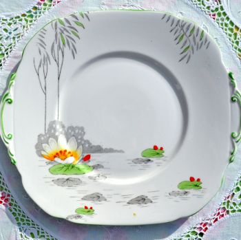 Roslyn Lily Pattern Hand Enamelled Cake Plate c.1937+