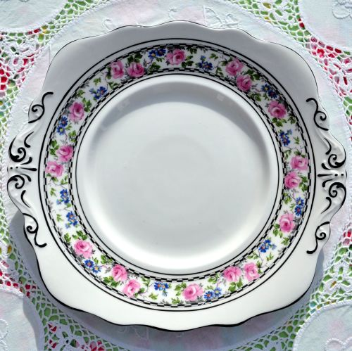 Antique Taylor and Kent Pink Roses Cake Plate c.1912+