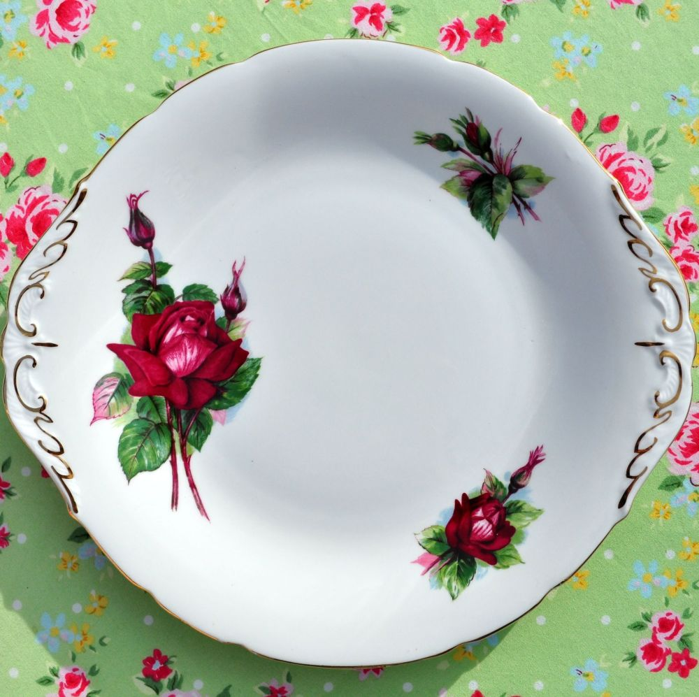 Paragon Grand Gala Red Roses Cake Plate c.1957+