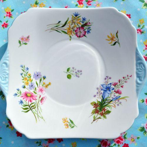 Shelley Wild Flowers Bone China Square Cake Plate c.1950s