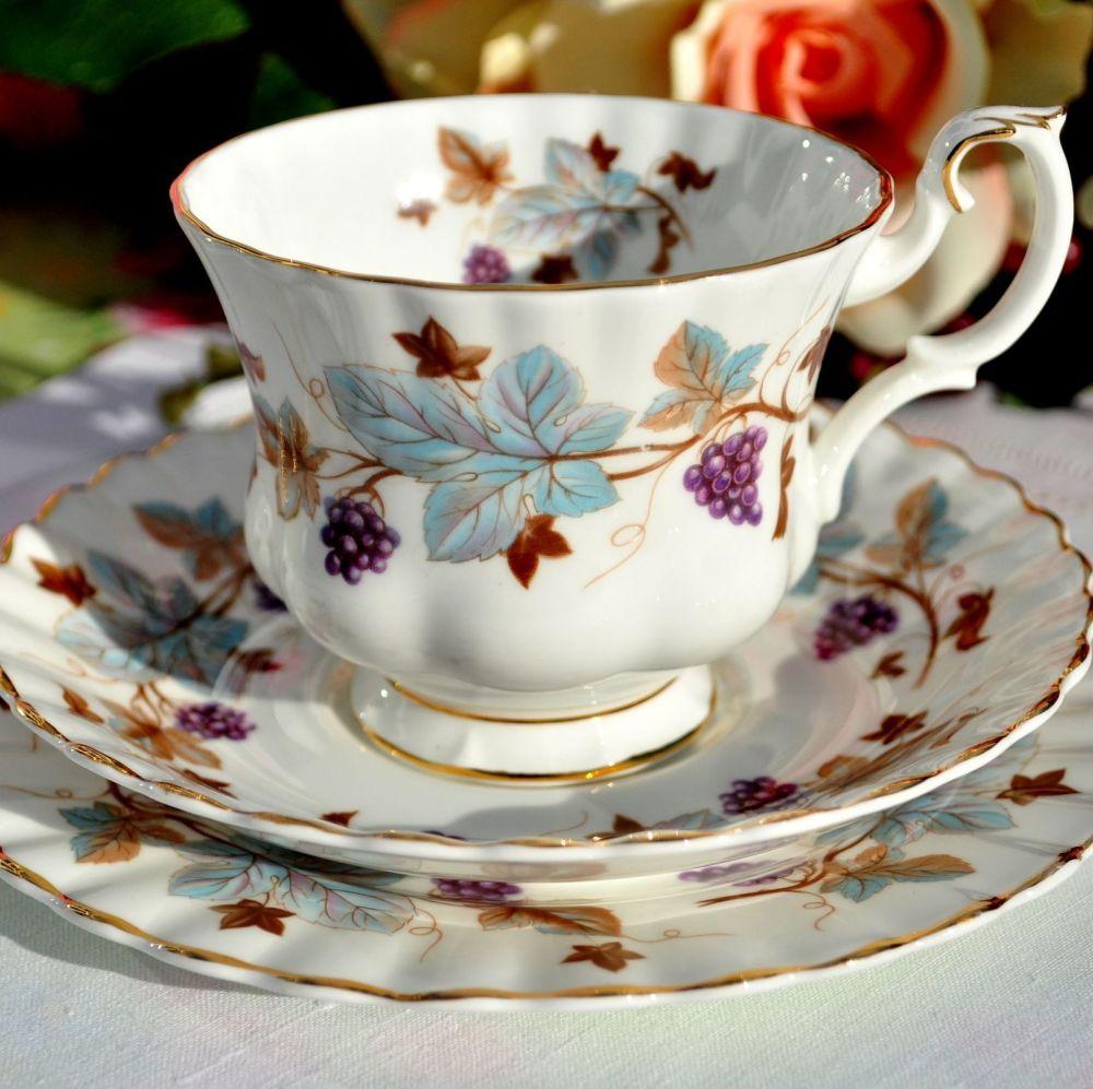 Royal Albert Lorraine Vintage China Teacup Trio c.1960s