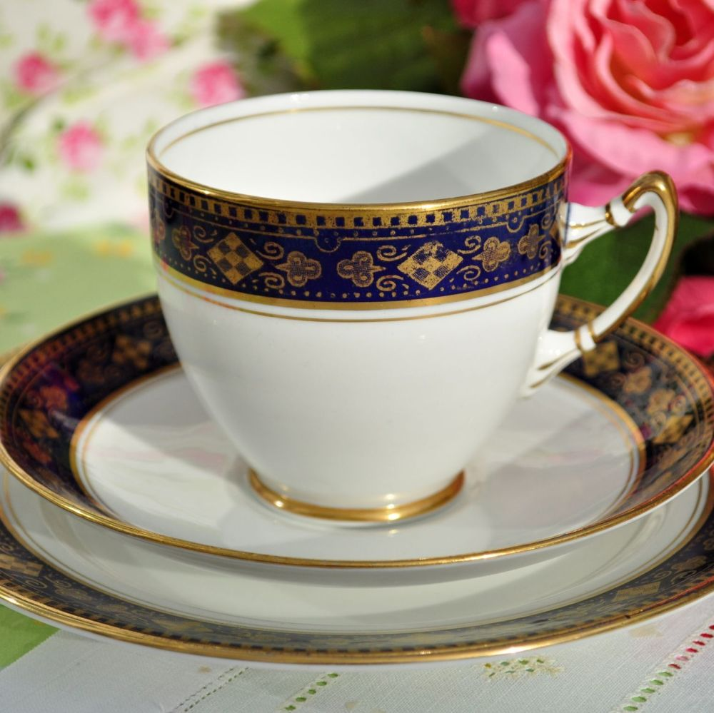 Royal Albert Crown China Blue and Gold Teacup Trio c.1925-7