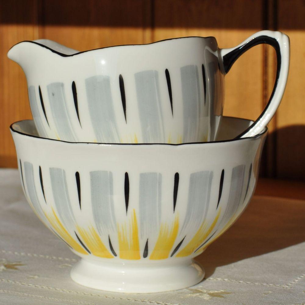 Royal Grafton Retro Black Rim Milk Jug and Sugar Bowl c.1957+
