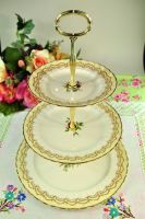 Royal Worcester Cromwell Pattern Vintage 3 Tiered Cake Stand c.1940s