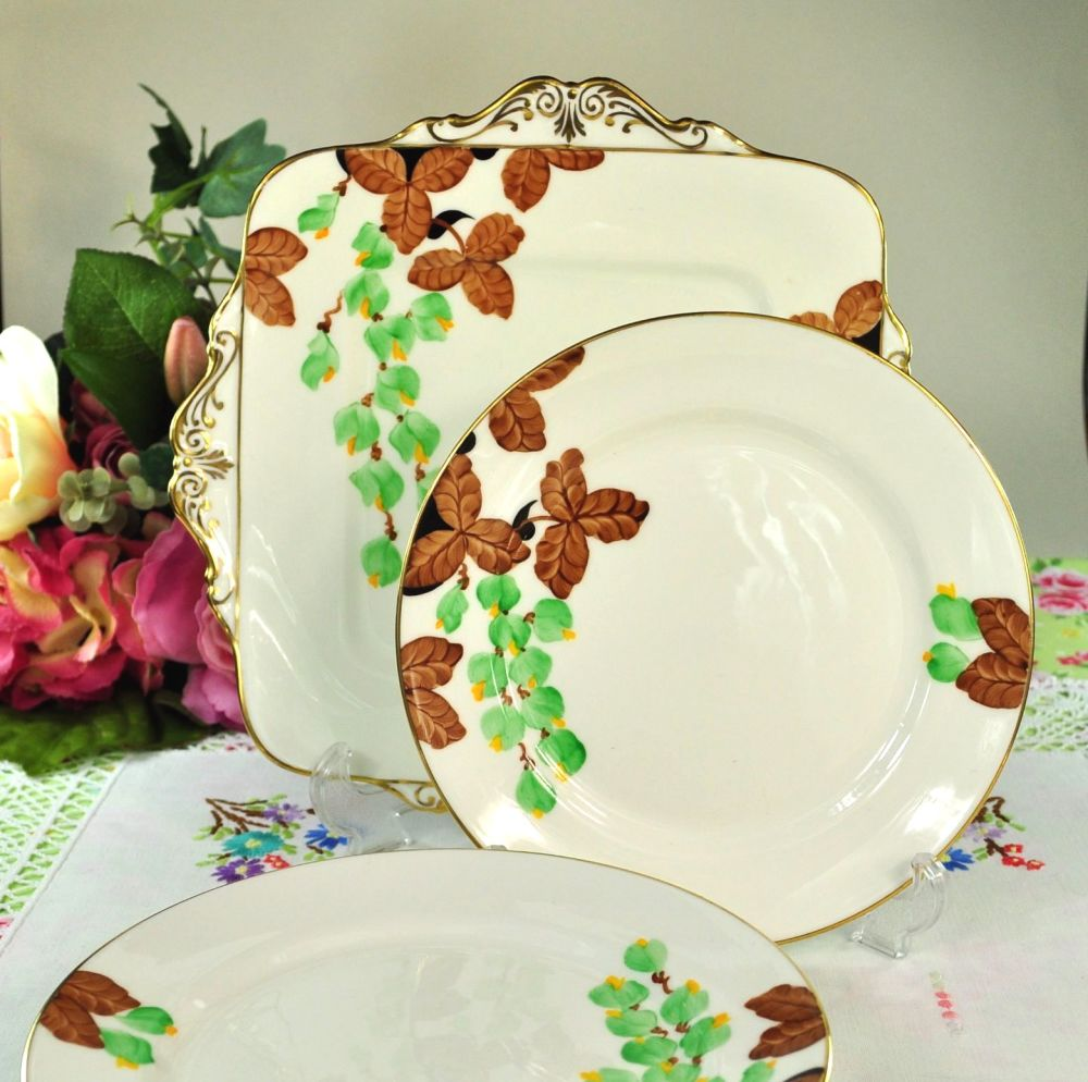 Paragon Hand Painted Plates Cake Serving Set c.1925+
