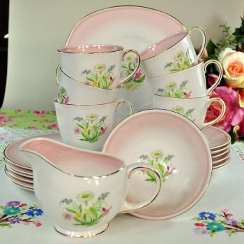 Susie Cooper Romance Pink Vintage China Tea Set c.1950s
