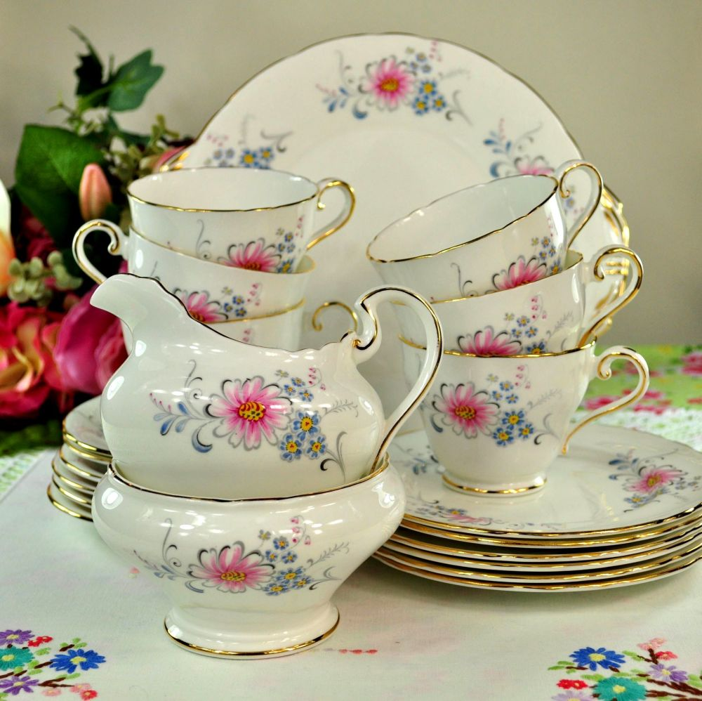 Aynsley Pink and Blue Floral Vintage China Tea Set