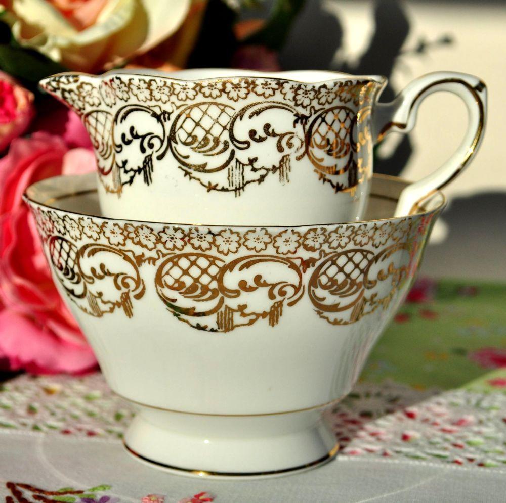 Royal Stafford White and Gold Filigree Milk Jug and Sugar Bowl