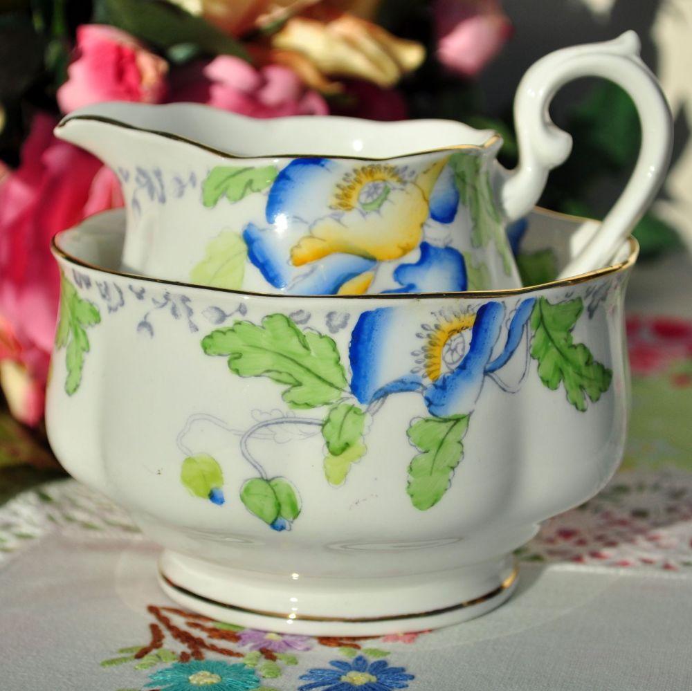 Royal Albert Crown China Poppyland Milk Jug and Sugar Bowl c.1927