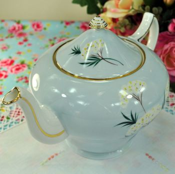 Royal Grafton Pale Blue Floral Large 2 Pint Teapot c.1950s