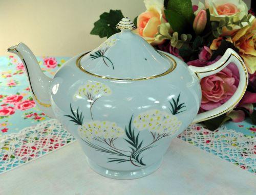Royal Grafton Pale Blue Floral Large 2 Pint Teapot c.1950s