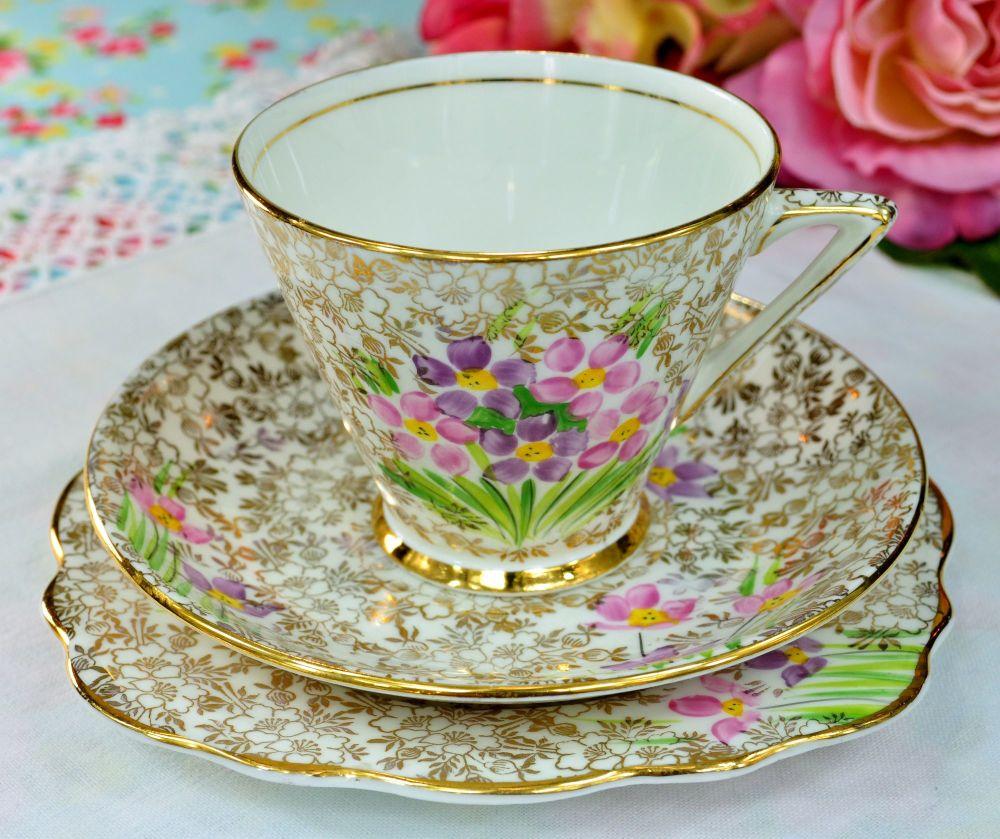 Phoenix China Art Deco Flowers and Gold Filigree Teacup Trio