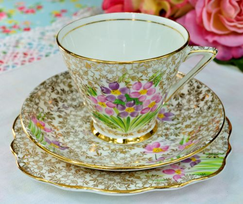 Phoenix China Art Deco Flowers and Gold Filigree Teacup Trio