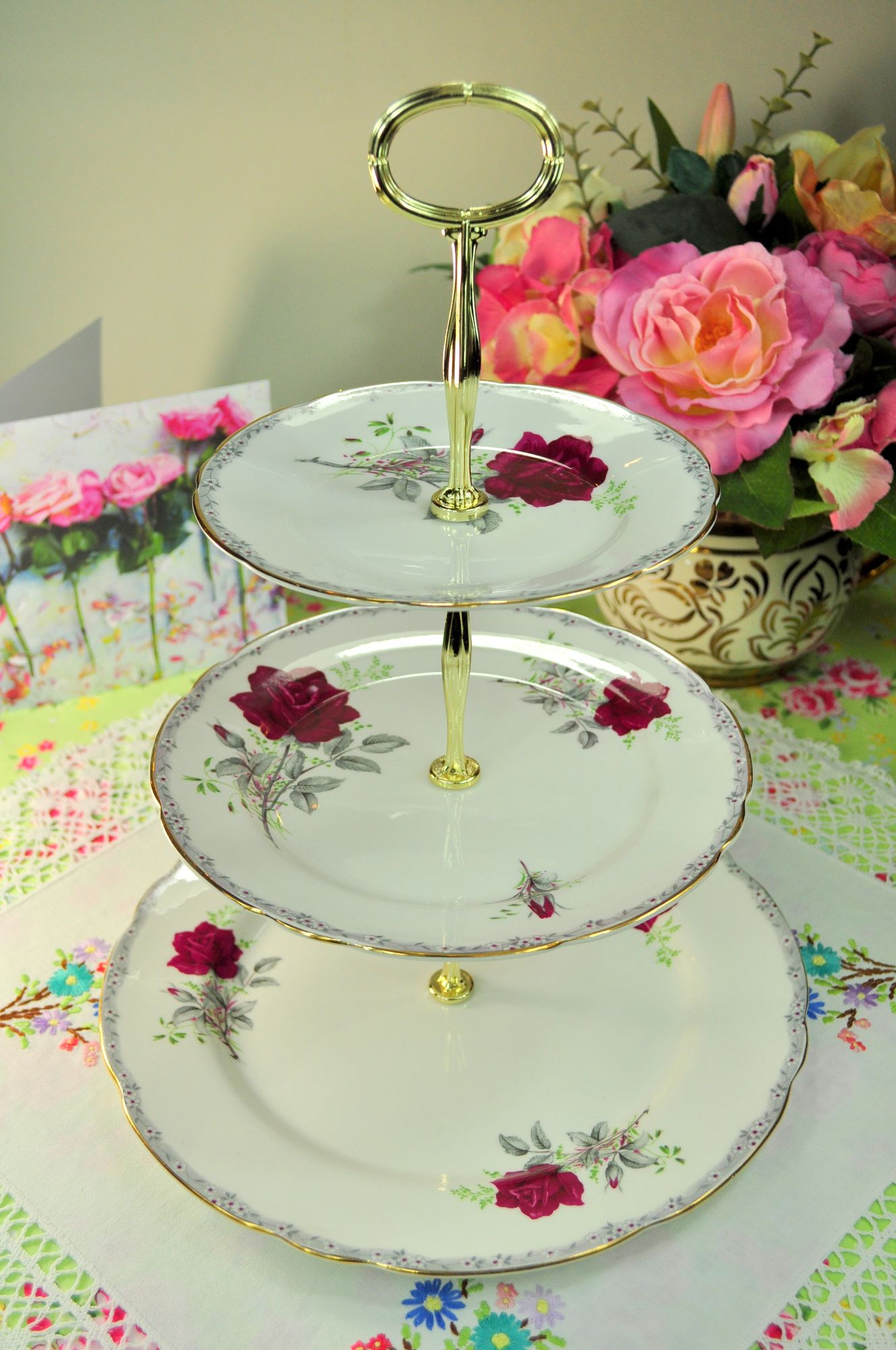 Roses To Remember Pattern Large 3 Tier Cake Stand