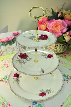 Royal Stafford Roses To Remember Large 3 Tiered Cake Stand