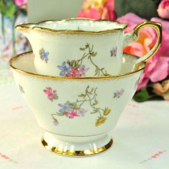 Royal Stafford Violets Pompadour Milk Jug and Sugar Bowl c.1950s