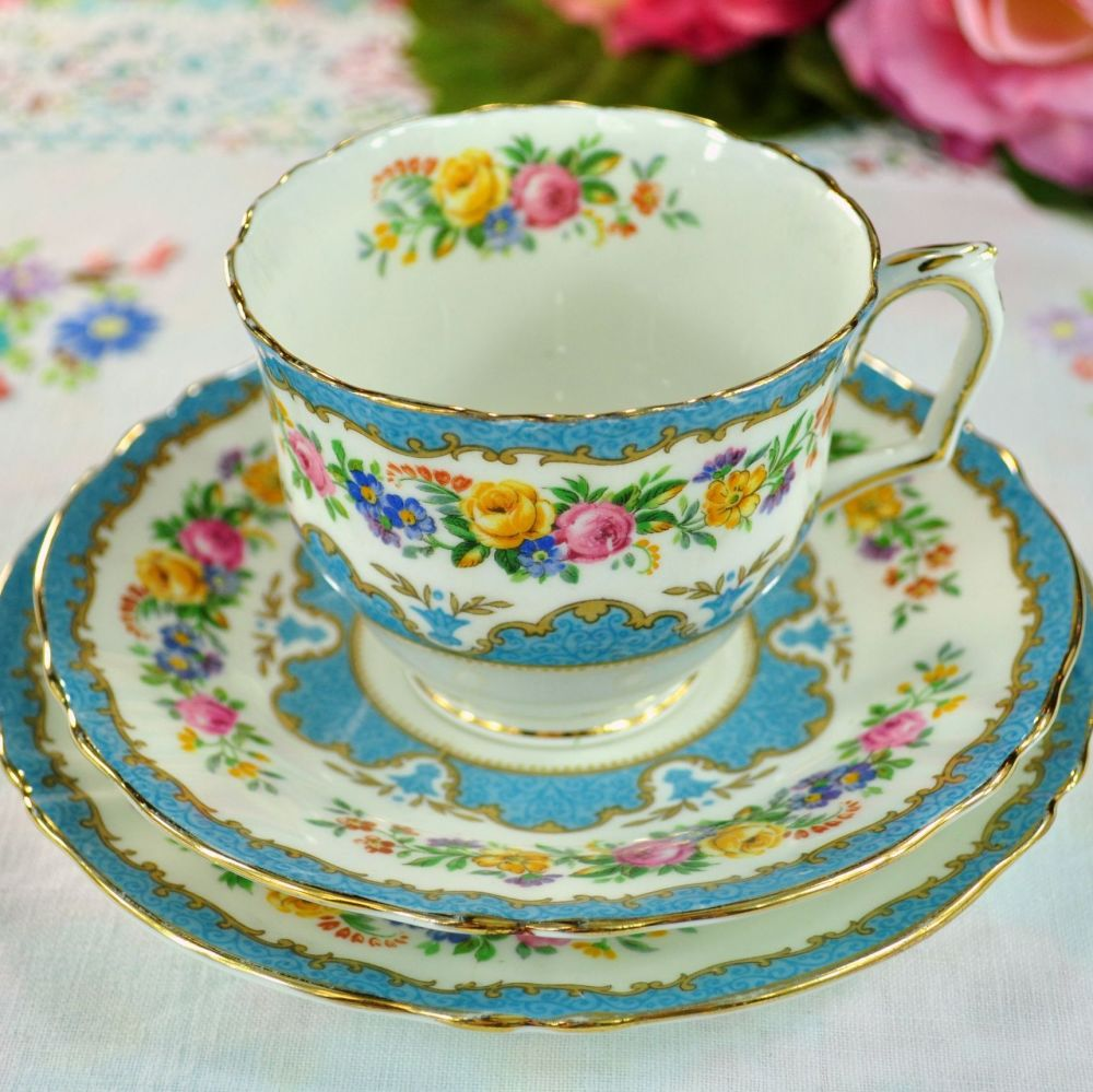 Crown Staffordshire Tunis Blue 'D' Handle Teacup Trio c.1930s
