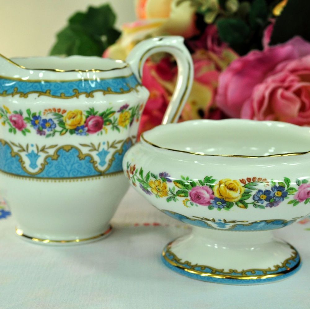 Crown Staffordshire Tunis Blue Milk Jug and Sugar Bowl