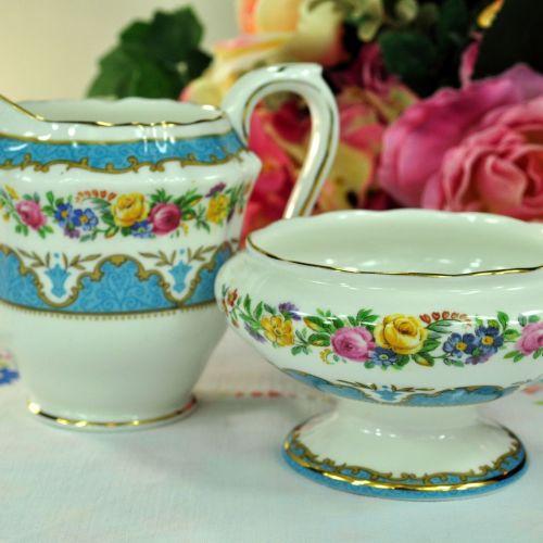 Crown Staffordshire Tunis Blue Milk Jug and Sugar Bowl