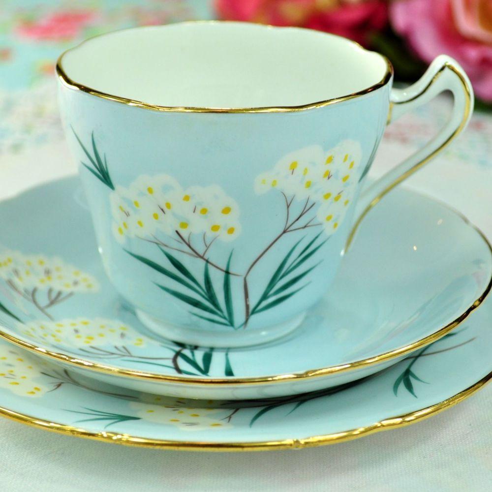 Royal Grafton Pale Blue Floral Teacup Trio. c.1950s