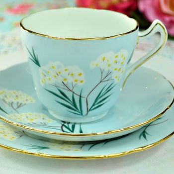 Royal Grafton Pale Blue Floral Teacup Trio. c.1950s