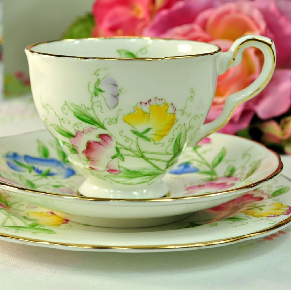 Royal Stafford Sweet Pea Hand Painted Teacup, Saucer Tea Plate c.1950s