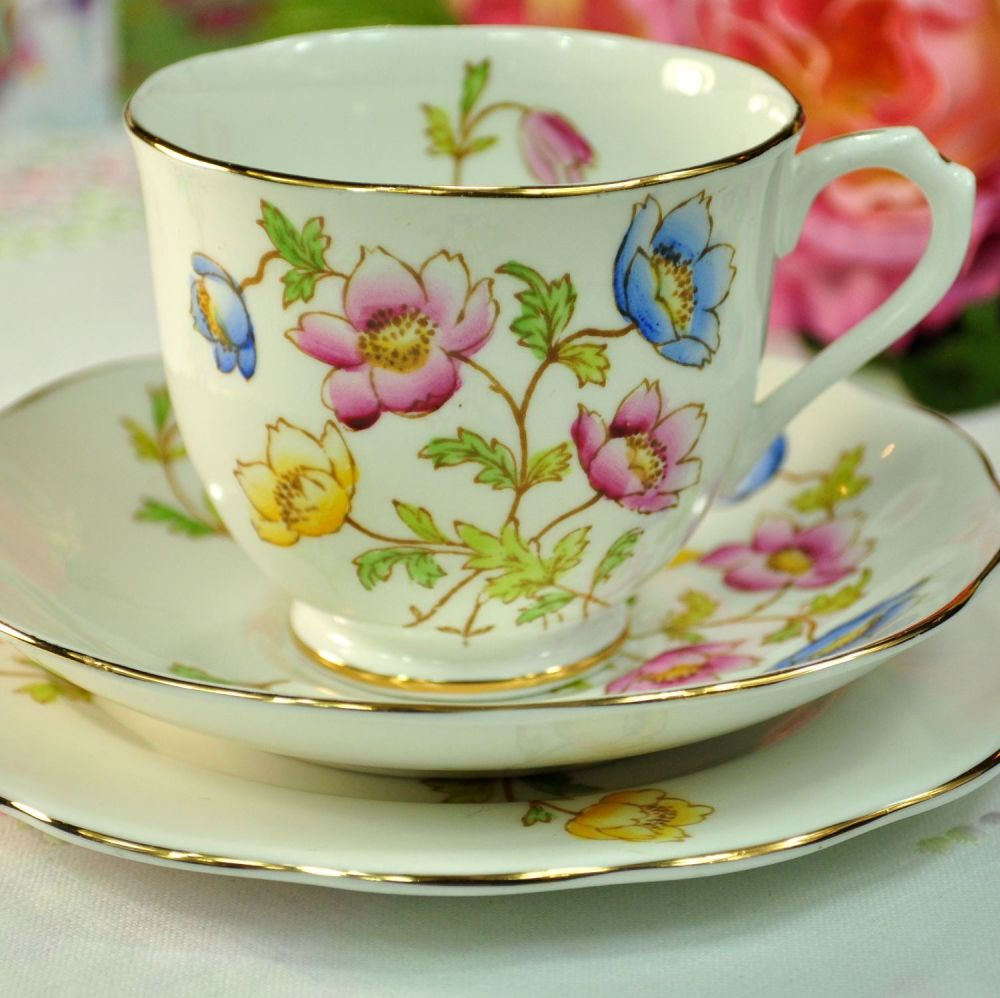 Royal Albert Anemone Hand Painted Bone China Teacup Trio c.1940s