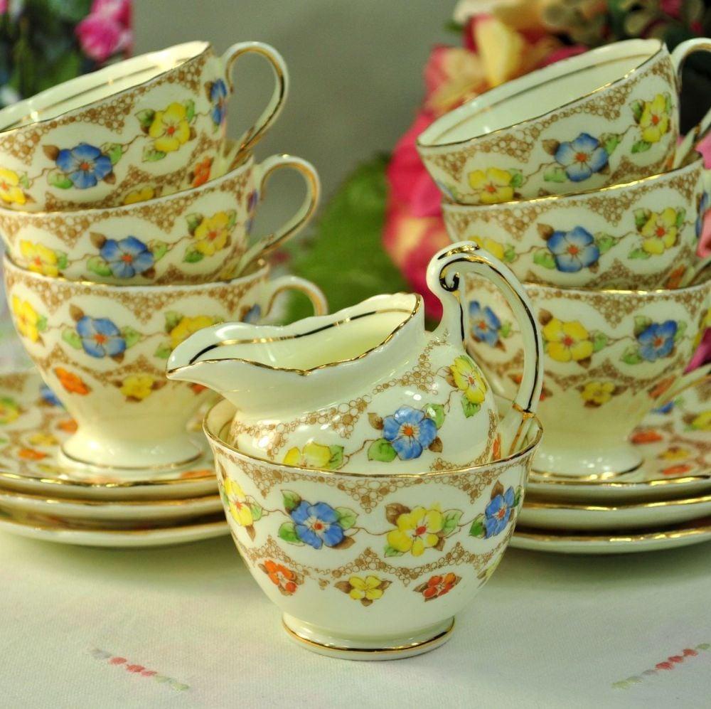 Foley Colourful Floral Small Vintage China Tea Set c.1930+