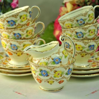 Foley Colourful Floral Small Vintage China Tea Set c.1930+
