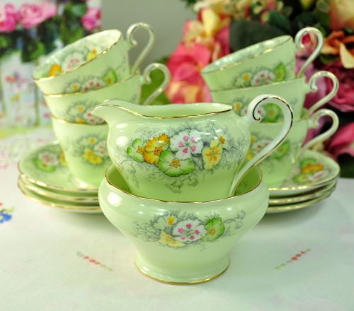 Aynsley Green Floral Small Vintage China Tea Set c.1930+
