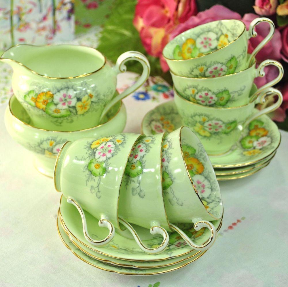 Aynsley Green Floral Vintage Bone China 14 Piece Tea Set c.1930+