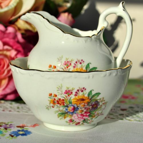 Coalport Fragrance Vintage China Milk Jug and Sugar Bowl c.1950s