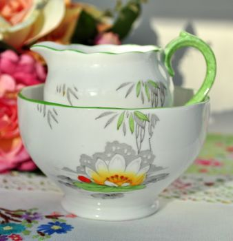 Roslyn Lily Pattern Hand Enamelled Milk Jug and Sugar Bowl c.1937+
